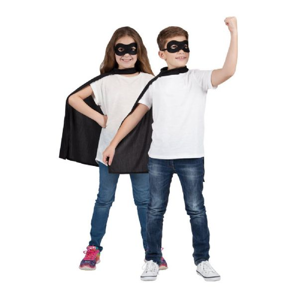 Childs Super Hero Cape & Mask -  Black